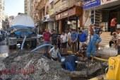 كسر مفاجئ بخط مياه الشرب بشارع النبوى المهندس والمحافظ يشدد على سرعة الإصلاح