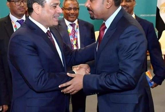 الرئيس عبد الفتاح السيسي وجها لوجه  بمدينة سوتشي مع رئيس الوزراء الإثيوبي آبي أحمد.